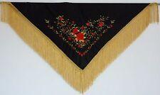 Nouveau espagnol flamenco châle-Noir Avec Rouge & Or motif Or Avec Frange