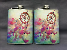 New listing Set of 2 Dream Catcher D1 Flasks 8oz Stainless Steel Drinking Whiskey