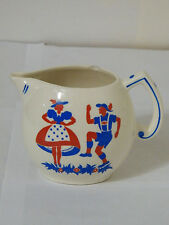 Vintage Made in Czechoslovakia Dutch Couple Red Blue Milk Pitcher White