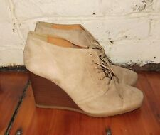 J.Crew Willem Wedge Booties tan Suede Lace Up Cap Toe Ankle Boots size 7.5