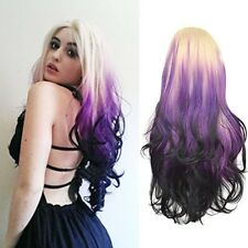 Blonde Purple Lace Front Wig  Lady Long Body Wavy Curly Hair Heat Resistant Wig