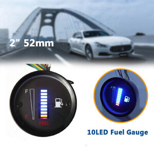 "52mm 2"" Fuel Level Gauge Car Meter Digital Blue LED Light Automotive Universal"