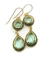 14k Gold Prasiolite Green Amethyst Pave Champagne Diamonds Bezel Earrings Long