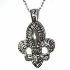 "Classic FLEUR DE LIS Statement Silver Plated Pendant 24"" ball-chain Necklace"