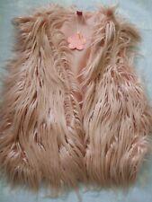 New Faux Long Hair Fur Japan Size S Hook &Eye Closure Pink Vests Christmas Gifts