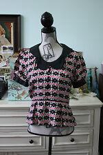 Milly of New York Silk White Pink & Black Peplum Blouse Size 6