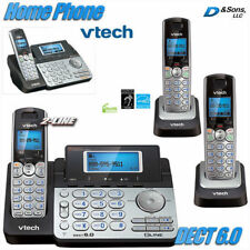 NEW Vtech DECT 6.0 2-Line Cordless Phone Home Telephone 3-Set System w/Answering