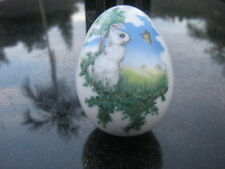 Vintage Fp Easter 1981 2 Piece Trinket Box Egg Bunny And Butterfly Grass