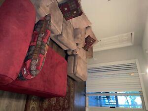 Vibrant Beige/Red Living Room Furniture Set
