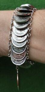 "Canadian Penny Coin Art Money Bracelet (1917-52) Handmade - Vintage - 9"" Long"