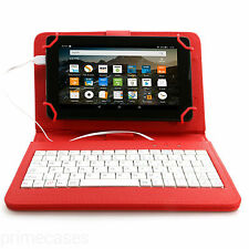 """PU LEATHER CASE COVER KEYBOARD FOR SAMSUNG, LENOVO, LG, KINDLE TABLET up to 7""""*"""