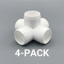 "1"" inch 5-Way Cross PVC Fitting Connector Elbow - 4-Pack - PB1005W-4P"