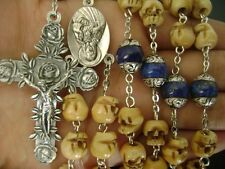 Oxen Bone Skull Sterling Silver Flower Lapis lazuli Beads Necklace Rosary Cross