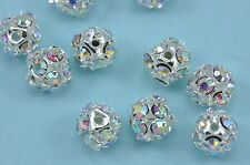 20x 8mm Rhinestone Crystal Diamante Silver Plated Round Ball Spacer Beads