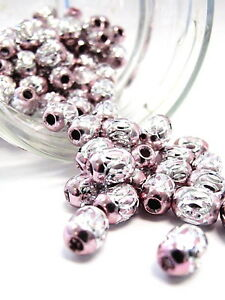 Aluminum Spacer Big Hole Bead Stainless Carved Oval 6x9mm 30 pcs Pink DIY Craft