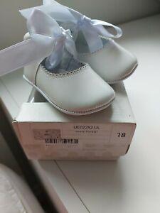 Pretty Originals White Patent Pram Shoe Size 18