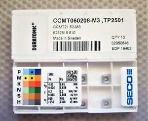10x SECO CARBIDE INSERTS CCMT 060208-M3  CCMT 21.52-M3  Grade TP2501