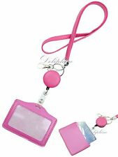 3 in 1 Necklace PU Leather Lanyard with Retractable Reel and Horizontal ID Badge