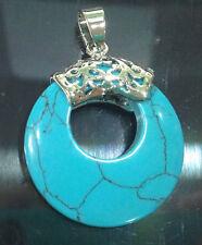 NATURAL Turquoise NECKLACE GEMSTONE PENDANT 18KGP JN1027