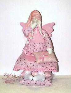 Tilda Doll Sleepy Angel Interior Textile Art Rag Doll Handmade Doll with Pillows