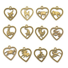12Pcs Antique Bronze Chinese Zodiac Horoscope Mixed Animals Charms Pendant