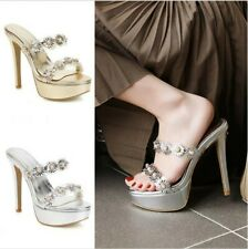 Womens Floral Decor Peep Toe High Heel Stiletto Party Shoes Slippers Sandals D