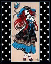 Myka Jelina Angel Art Print Signed Emma Rockabilly Retro Polkadots Red Hair Fae
