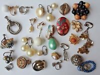 Lot of single vintage clip on and screw back Earrings. pearl, Marvella, + more