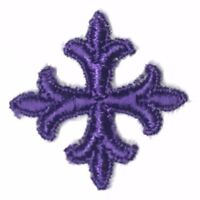 """Vintage French Cross Embroidery 1"""" Sew-on Purple A Emblem Patches 12 Pieces"""