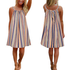 Women Boho Sleeveless Stripe Holiday Beach Summer Swing Mini Dress Plus size8-22