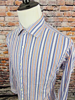 Tailorbyrd Men's Dress Shirt Long Sleeve Striped Orange Blue White sz XL Cotton