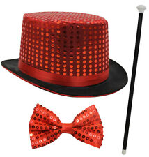 SEQUIN TOP HAT DANCE CANE AND BOW TIE FANCY DRESS RINGMASTER CABARET THEATRE