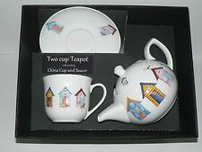 Beach Huts 2 cup teapot,cup and saucer gift boxed. cup,saucer teapot boxed