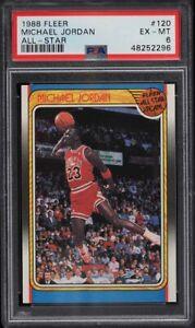 1988 Fleer Basketball Michael Jordan ALL-STAR #120 PSA 6 EXMT MJ AIR FREE THROW
