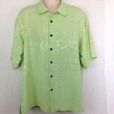 a081a2f6eb49a Bermuda Bay Mens L Short Sleeve Hawaiian Camp Shirt Green Floral 100% Silk