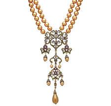 """Heidi Daus """"Seductive Fantasy"""" Pearl & Crystal Victorian Style Necklace"""