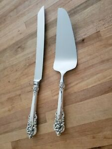 Wallace Grande Baroque Sterling Silver Bread Cake Knife Cake Cheese Server 2pc