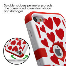 iPod Touch 5th / 6th Gen - RED WHITE LOVE CAT Hard&Soft Rubber Hybrid Armor Case