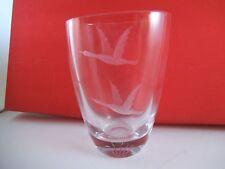 Beautiful Ekenas Sweden Art Glass Vase Ducks Birds