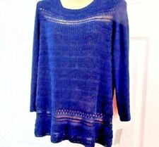 NWT CHARTER CLUB (Size: L)  Navy Blue Knitted Sweater Acrylic/Nylon 3/4 Sleeve