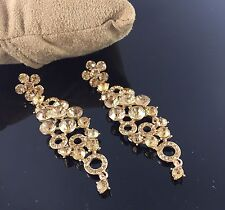 Gold Tone Crystal Long Style Drop Down Dangle Chandelier Earrings Designer Party
