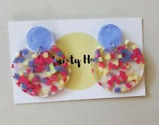 Statement confetti purple,yellow and pink clear acrylic dangle earrings