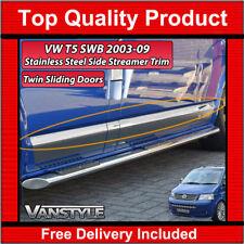 VW T5 TRANSPORTER 03-09 SWB SIDE STREAMER TRIM S.STEEL CHROME TWIN SLIDING DOOR