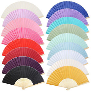 Chinese Silk Bamboo Folding Hand Fans for Outdoor Wedding Party Favor Decoration
