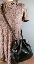 Salvatore Ferragamo Black Snake Print Calf Leather Drawstring Hobo Shoulder Bag!