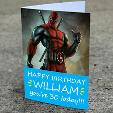 DEADPOOL Personalised Birthday Card | Boys Adult Any Name Fast Shipping