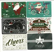 Lot (6) Macy's Gift Cards No $ Value Collectible Bear Santa Bike Christmas Macys