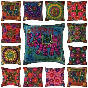 Mandala Multicoloured Indian Wool Embroidered Mirror Boho Cushion Covers Fit 16""