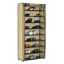 Large 10 Tier 50 Pair Shoe Rack Metal Frame Fabric Shelves with Dust Cover
