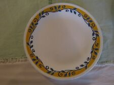 "Corelle vintage  8 1/2"" Bella Vista  plate yellow,blue scroll leaves Corning"